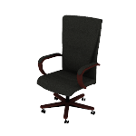 HVL844 | HON Topflight Executive High-Back Chair | Center-Tilt | Fixed Arms | Wood Trim