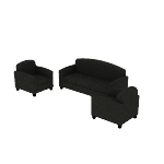 HVL87SOFA | HON Circulate Lounge Set | Sofa and 2 Club Chairs | Black Leather
