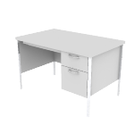 "H88251R | HON Mentor Series Single Pedestal Desk | Center Drawer  | 1 Box / 1 File Drawer | Chrome Legs | Right | 48""W"