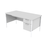 "H88263R | HON Mentor Series Single Pedestal Desk | Center Drawer | 1 Box / 1 File Drawer | Chrome Legs | Right | 60""W"