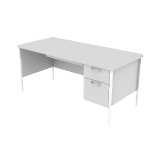 "H88265R | HON Mentor Series Single Pedestal Desk | Center Drawer | 1 Box / 1 File Drawer | Chrome Legs | Right | 66""W"
