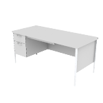 "H88266L | HON Mentor Series Single Pedestal Desk | Center Drawer | 1 Box / 1 File Drawer | Chrome Legs | Left | 66""W"