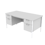 "H88962 | HON Mentor Series Double Pedestal Desk | Center Drawer | Tw Box / 2 File Drawers | Chrome Legs | 60""W"